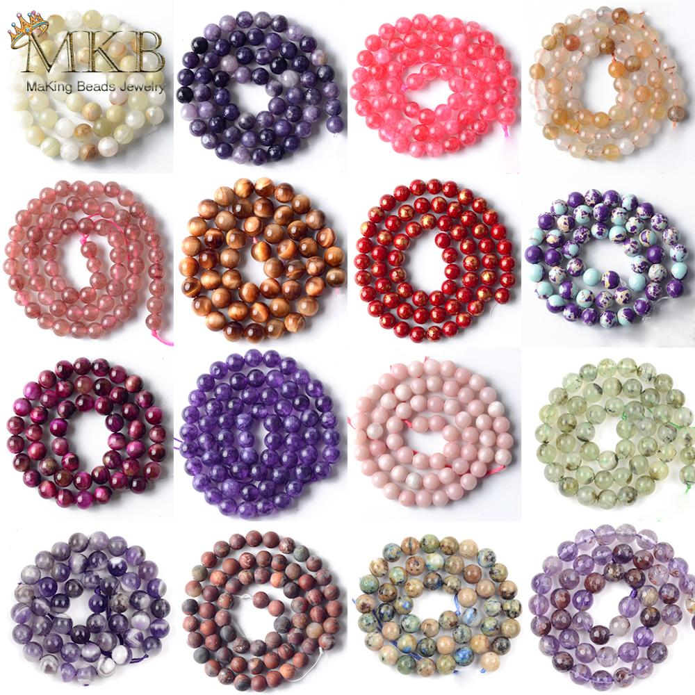 21Styles Natural Tiger Eye Stone Crystal Jaspers Agates Round Beads For Jewelry Making Spacer Loose Beads Diy Bracelet 15