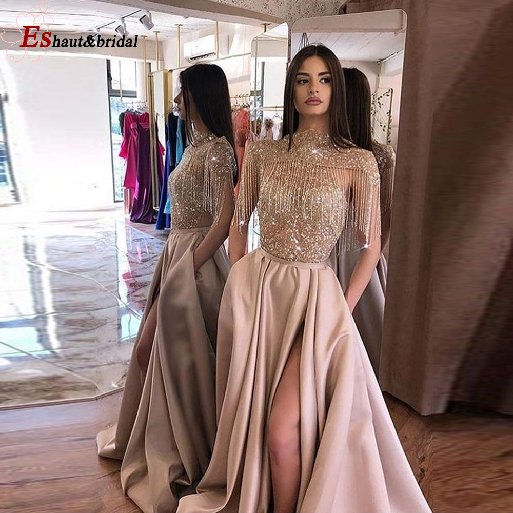 Dubai Arabic Blush Evening Dress 2019 High Neck Side Split Sparkly Beads Tassel Handmade Long Sleeveless Formal Prom Party Gown