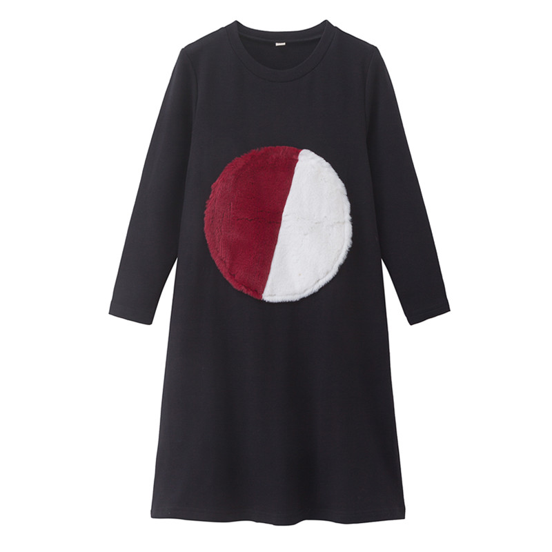 4 To 16 Years Kids & Teenager Girls Geometric Fur Circle Print Flare Cotton Casual Dress Children Girl Fall Winter Black Dresses
