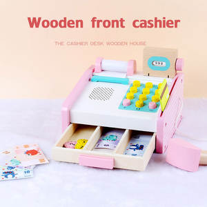 Cash-Register Pretend-Play-Toy Wooden Simulation Educational-Toys Children for Gift