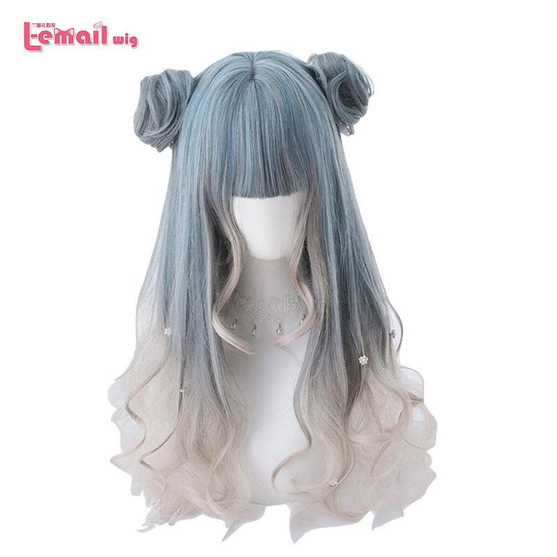 L-email Wig Long Curly Gradient Lolita Wigs 58cm Wave Woman Hair Cosplay Wig With Buns Heat Resistant Synthetic Hair Perucas