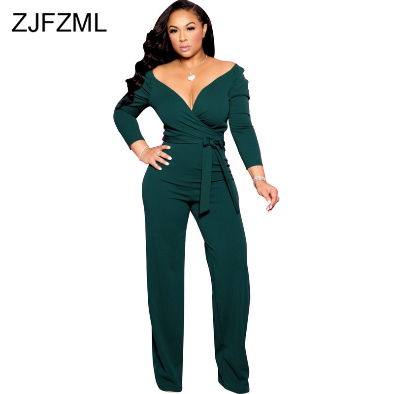 Sexy Deep V-Neck Tie Up Overall For Women Backless High Waist Solid One Piece Jumpsuit 2019 Autumn Long Sleeve Causal Playsuit
