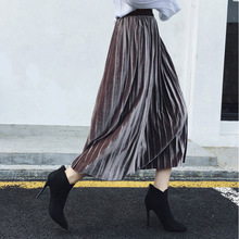 Mooirue Streetwear Pleuche Women Long Pleated Skirts 9 Colors Vintage Casual Loose Outwear Plus Size Korean Style
