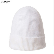 SUOGRY 2019 New Women Fur Pompom Beanies Female Cashmere Wool Knitted Winter Hats Warm Slouchy Beanie Hat Casual caps