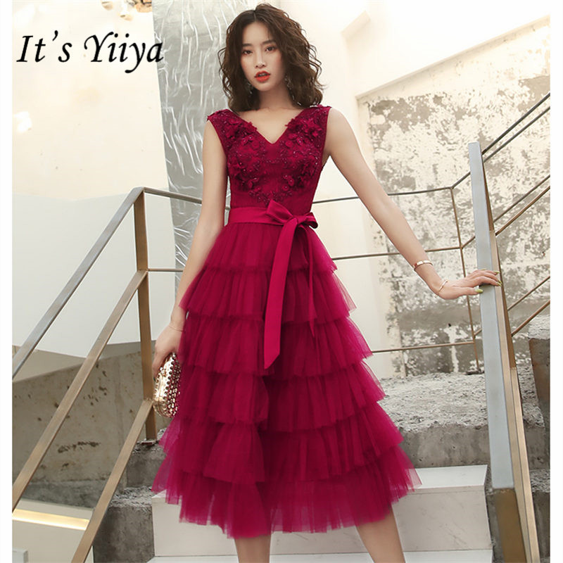It's YiiYa   Cocktail     Dress   2019 Sexy V-Neck Backless Plus Size Woman Party   Dresses   Sleeveless Tea-Length Robe   Cocktail   Gowns E832