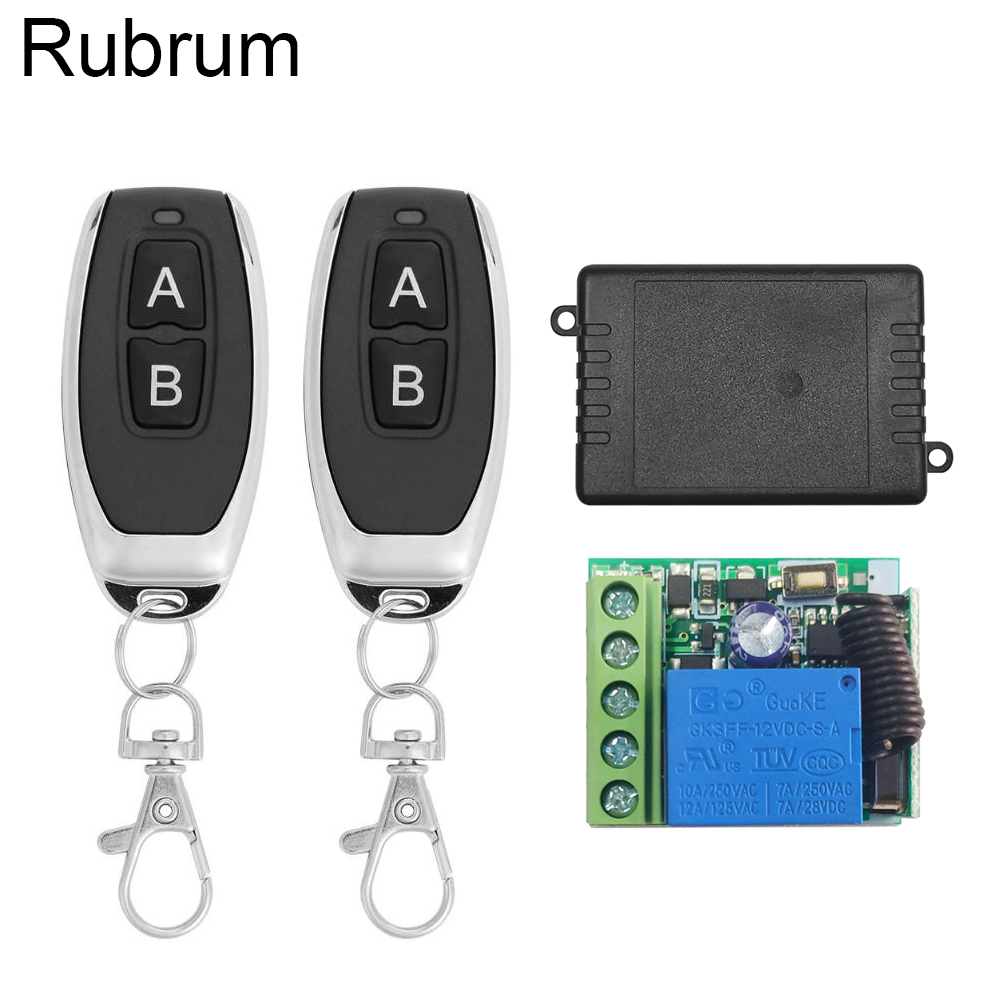 Rubrum 433Mhz Universal Wireless <font><b>Remote</b></font> Control Switch DC 12V 1CH Relay Receiver Module + RF Transmitter 433 Mhz <font><b>Remote</b></font> Controls image