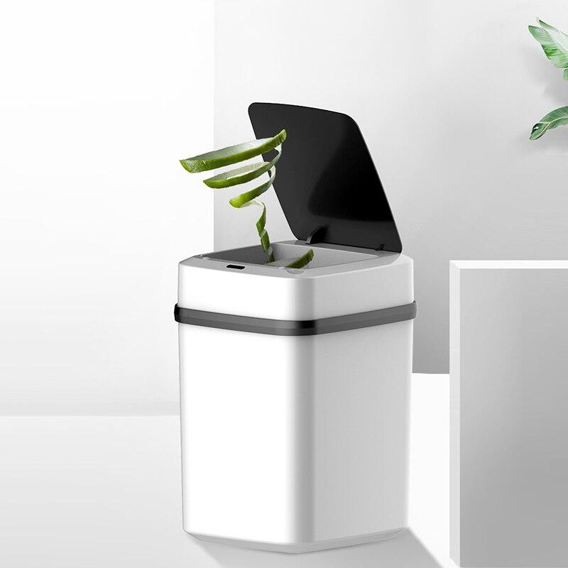10L Automatische Intelligente Sensor Smart Prullenbak Vuilnisbak Deksel Bewegingsmelder Energiebesparende Geen Lawaai Voor Keuken Slaapkamer-in Afvalbakken van Huis & Tuin op title=