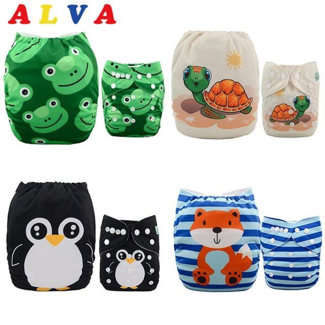 Alvababy 4ピース/セット布おむつベビーシェル調節可能な再利用可能なベビー布おむつを挿入せずにシェル