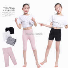 3-12Y girls spring summer pants calf-length leggings short pants Candy Color pants girls legging Knee Length baby girls pants cheap KODKIEDN COTTON Acrylic REGULAR NONE Fits true to size take your normal size Elastic Waist Solid Straight 100320200301