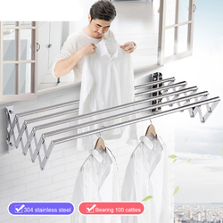 W-Type Space Saver Clothes Rack Stainless Steel Wall Mounted Collapsible Laundry Folding Clothes Drying Rack Hangers For Clothes