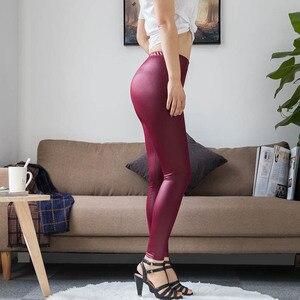 Image 5 - S 5XL חדש סתיו 2020 האופנה פו עור מט עור מכנסיים נמתח בתוספת גודל 4XL 5XL סקסי אלסטי דק שחור נשים חותלות