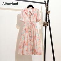 Aihuyigui New Summer Short Sleeve Peter Pan Collar Dress Women Button Colorful Oil Painting Red Pink Print Casual Dress Ru275