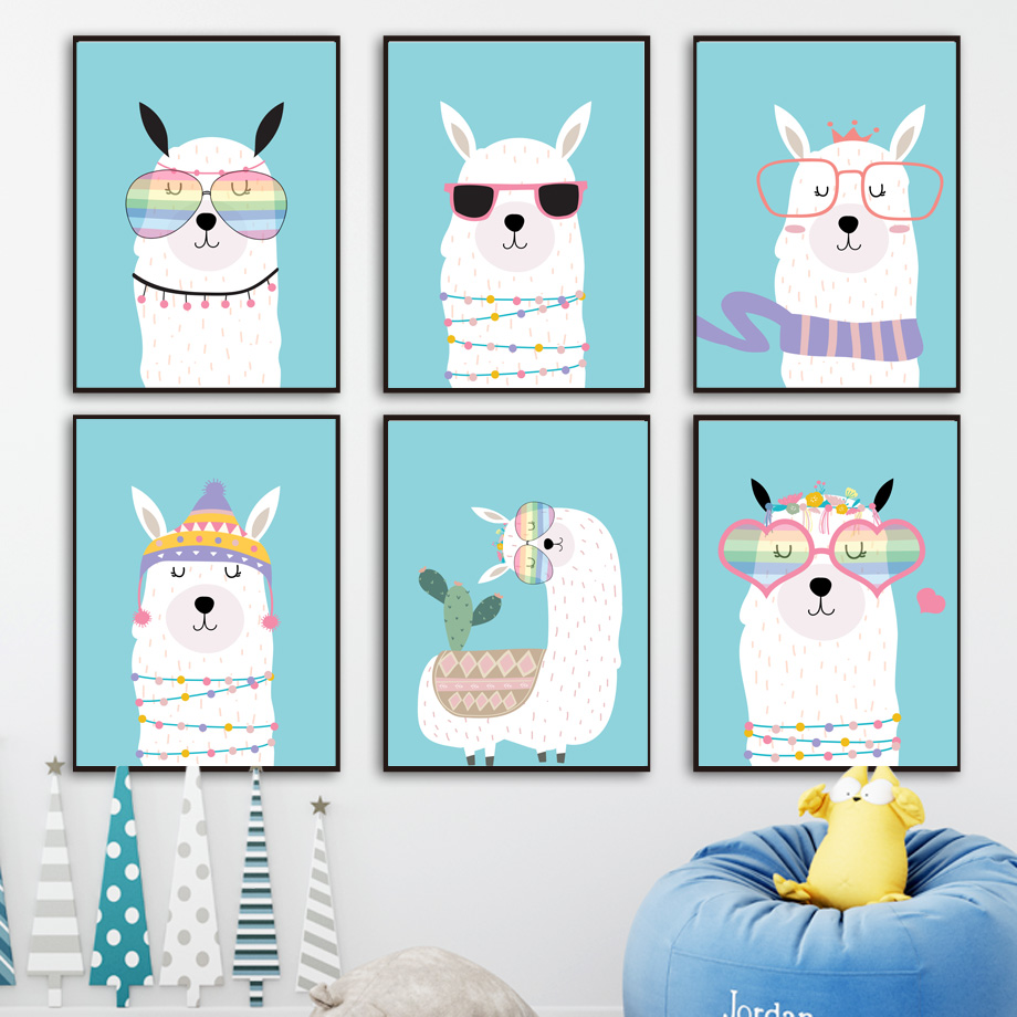 Cartoon llama Alpaca sunglasses cactus Wall Art Canvas Painting Nordic Posters And Prints Wall Pictures Baby Kids Room Decor