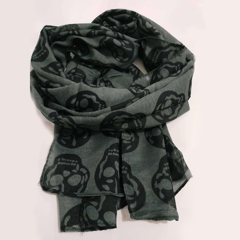 Autumn Female Skull Print Scarf Women Cotton Linen Scarf Summer Beach Long Shawl Wraps Elegant Lady Soft Thin Head Scarf Wraps
