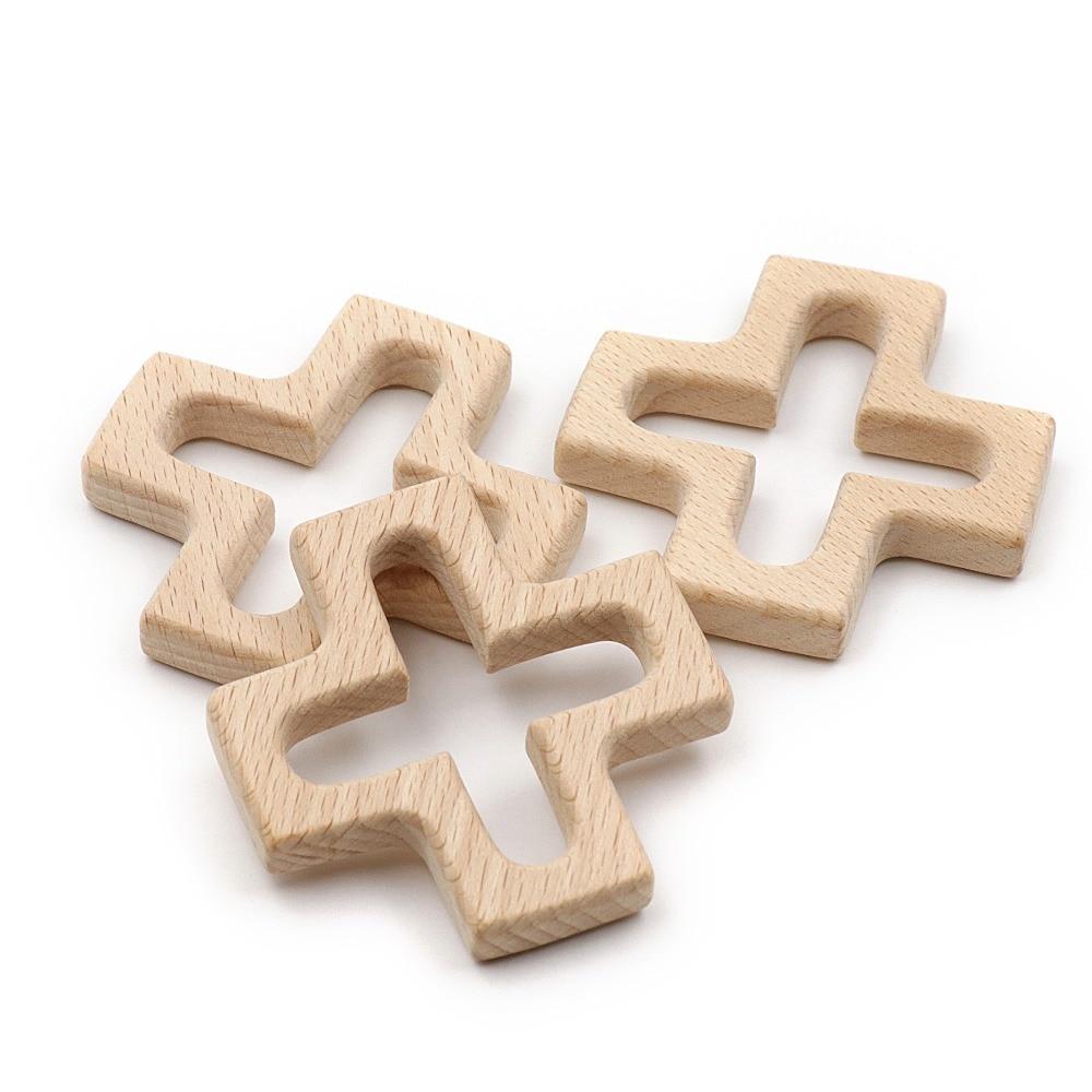Natural Beech Wood Teether Cross Food Grade Wooden Teether Baby Teething Toys