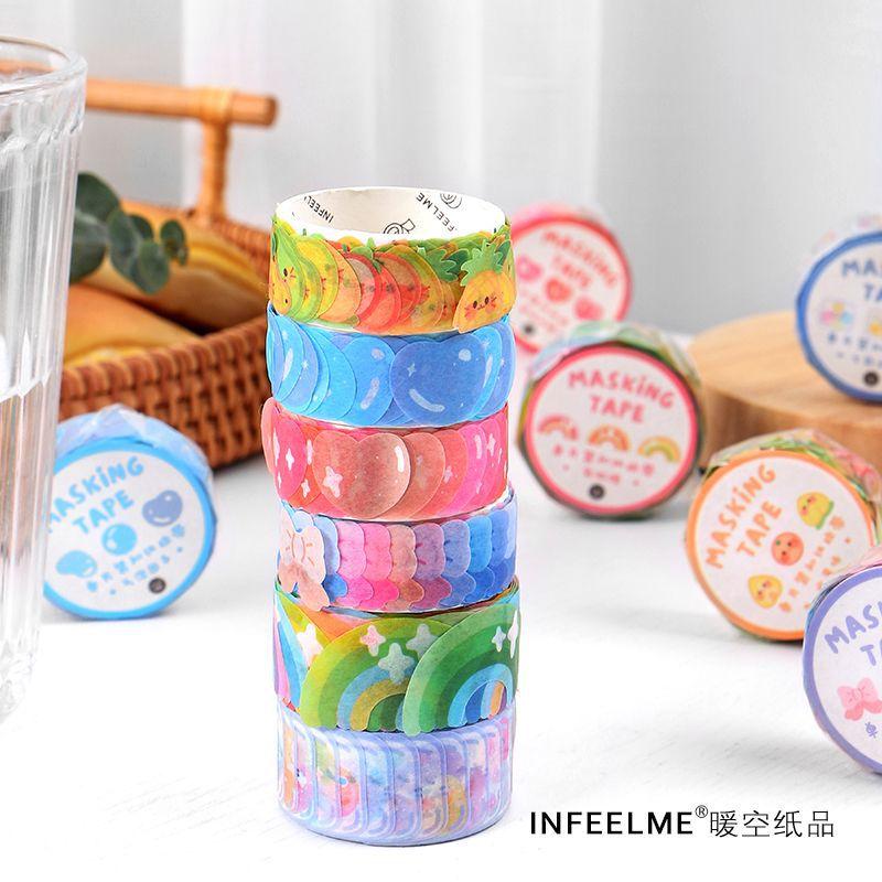 100 pcs /Roll Cute Rainbow Bow Gradient DIY Decorative Masking Tape Stickers Diary Album Stickers