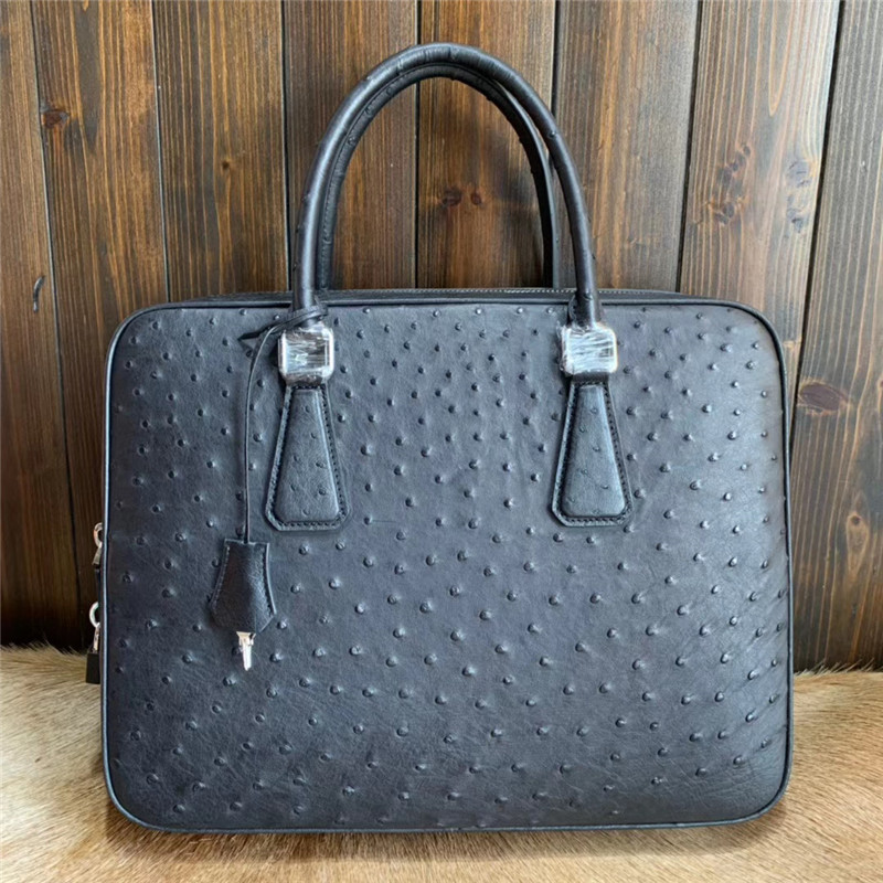 Authentic Real Ostrich Skin Businessmen Working Purse Briefcase Bag Genuine Leather Key Lock Closure Male Large Laptop Handbag