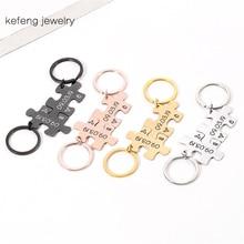 Personalized Custom Date Set Puzzle Jewelry Gift for Boyfriend Husband Wife Girlfriend Couple Love Keychain Keyring Porte Clef