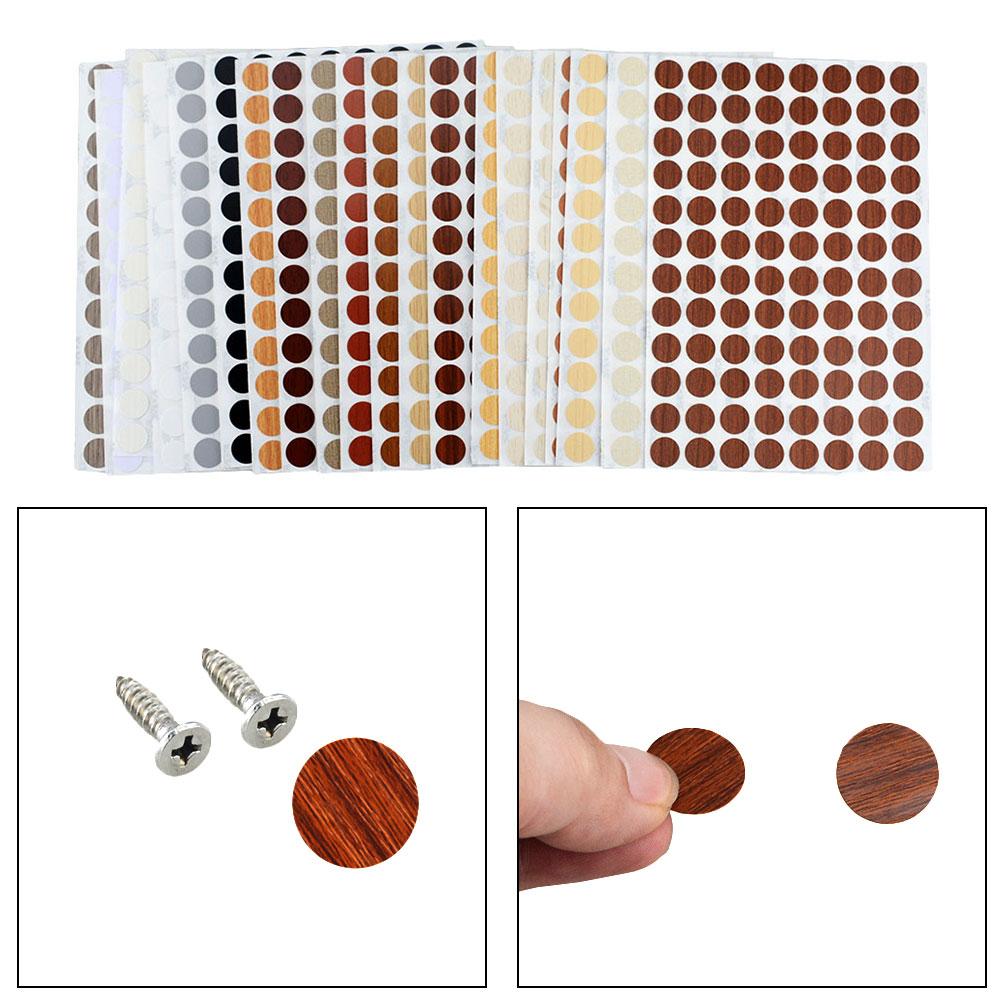 96 adet/levha PVC 15mm kendinden yapışkanlı dekoratif filmler mobilya vidası kapatma kapakları çıkartmalar ahşap el sanatları masa dolabı süsleme