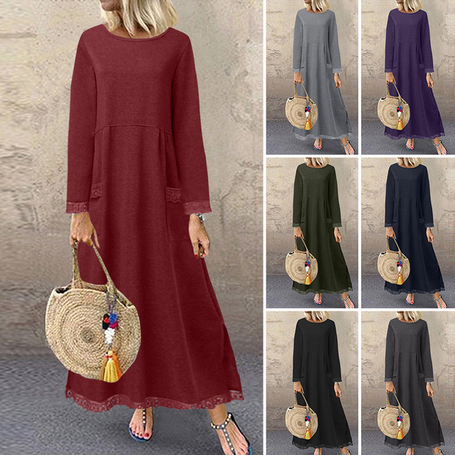 Fashion Women's Autumn Sundress ZANZEA 2020 Lace Patchwork Sweatshirts Dress Female Hoodies Plus Size Maxi Vestidos Pullover 5XL 2