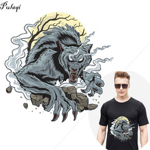 Werewolf Patches Thermo Stickers On Clothes Iron Transhers For Clothing Wolf Heat Transfer Shirt Cloth Appliques
