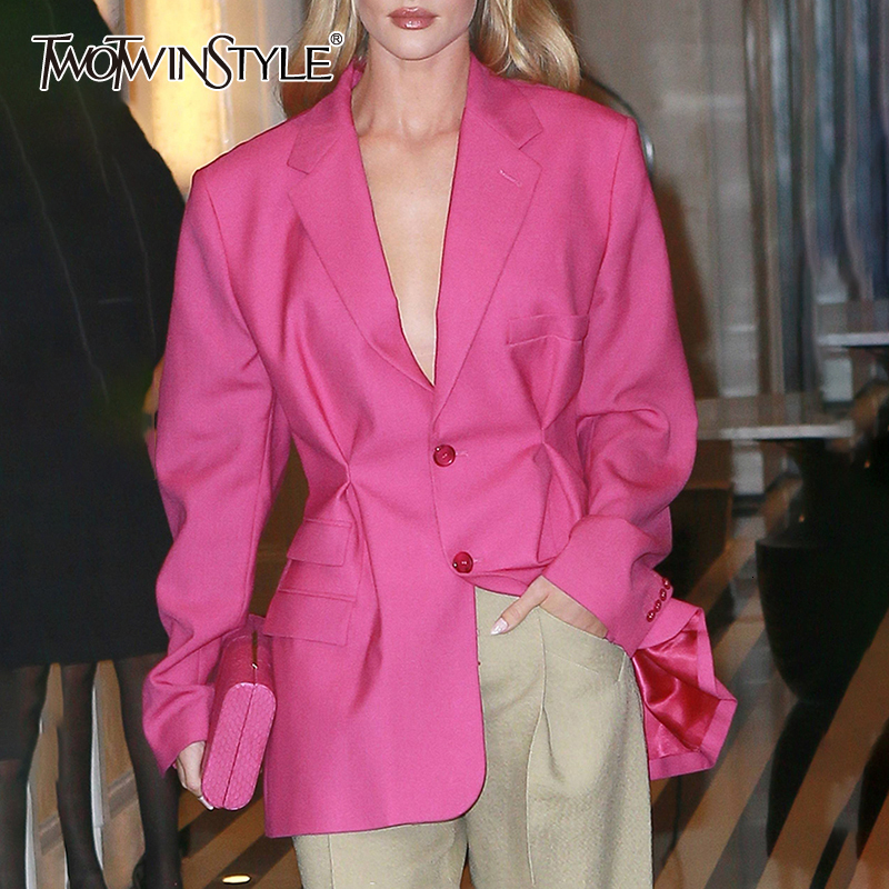 TWOTWINSTYLE Streetwear Tunic High Waisted Long Sleeve Black Pink Blazer Coat Women 2020 Autumn Female Fashion Clothing New
