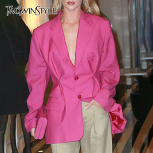 TWOTWINSTYLE Streetwear Tunic High Waisted Long Sleeve Black Pink Blazer Coat Wo