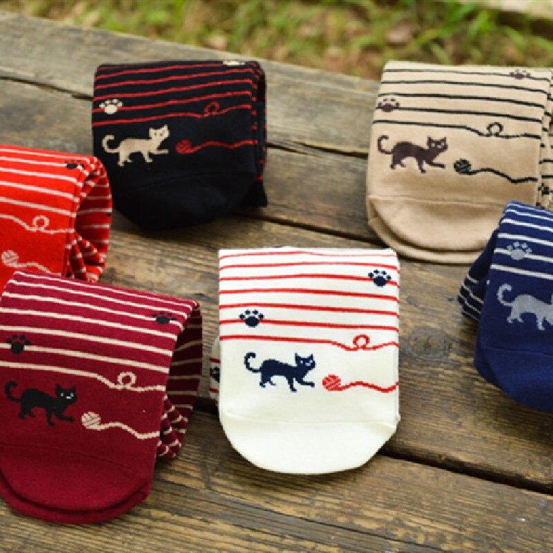 Korean Socks Playing Ball Of Cat Cute Socks Cotton Socks Stripe Socks For Women's Socks