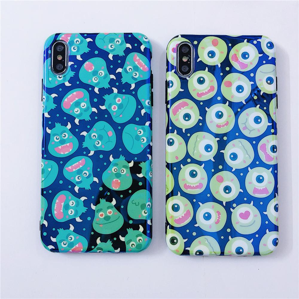 Image 3 - Funny Cartoon Cute Lovely Monster Dots Phone Case For iPhone X 8 7 6 6s plus XS 11 Pro Max XR Grip Holder Stand Back Cover Coque-in Fitted Cases from Cellphones & Telecommunications