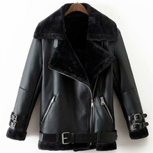 Coat Jacket Outwear Fur Faux-Leather Warm Vintage Thick Woman Fashion Winter Ladies PUWD
