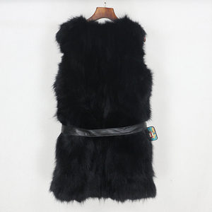 Image 4 - OFTBUY 2020 Winter Jacket Women Black Real Natural Fox Fur Vest Coat New Luxury Female Warm Thick Slim Waistcoat Belt Streetwear