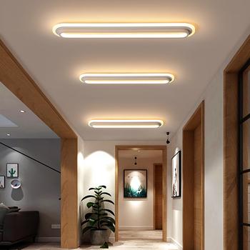 Nowoczesny minimalistyczny długi korytarz korytarz lampa sufitowa Nordic Portal balkon LED światła sypialnia szatnia sufitowa biała lampa tanie i dobre opinie CUOSHE CN (pochodzenie) Metrów 10-15square KİTCHEN Jadalnia Łóżko pokój Foyer Badania Łazienka 90-260 v Klin Aluminium