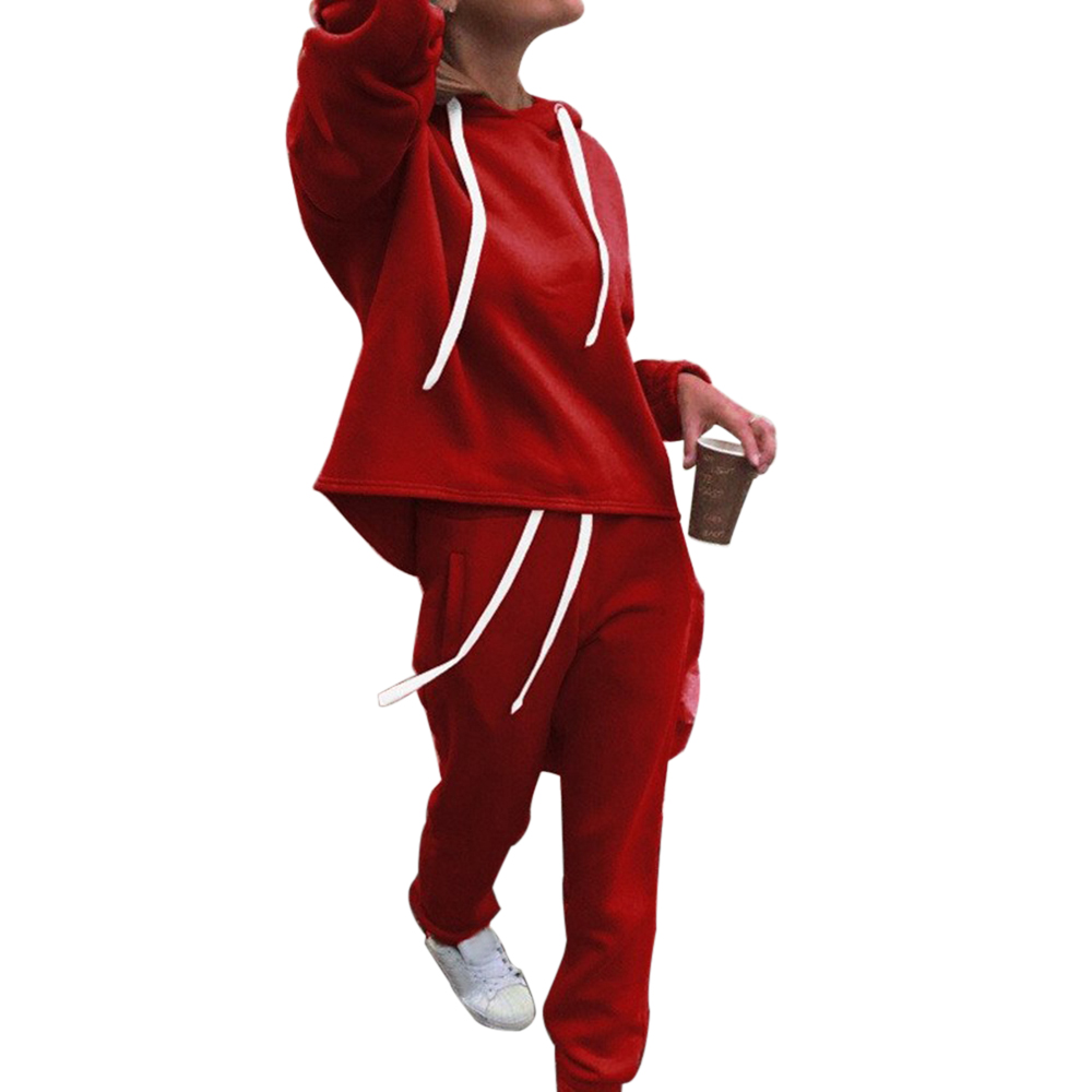 NIBESSER Newest Autumn Winter 2 Pieces Suit Ladies Hooded Fashion Tracksuit Long Sleeve Solid Color Sports Pant Casual Losse Set