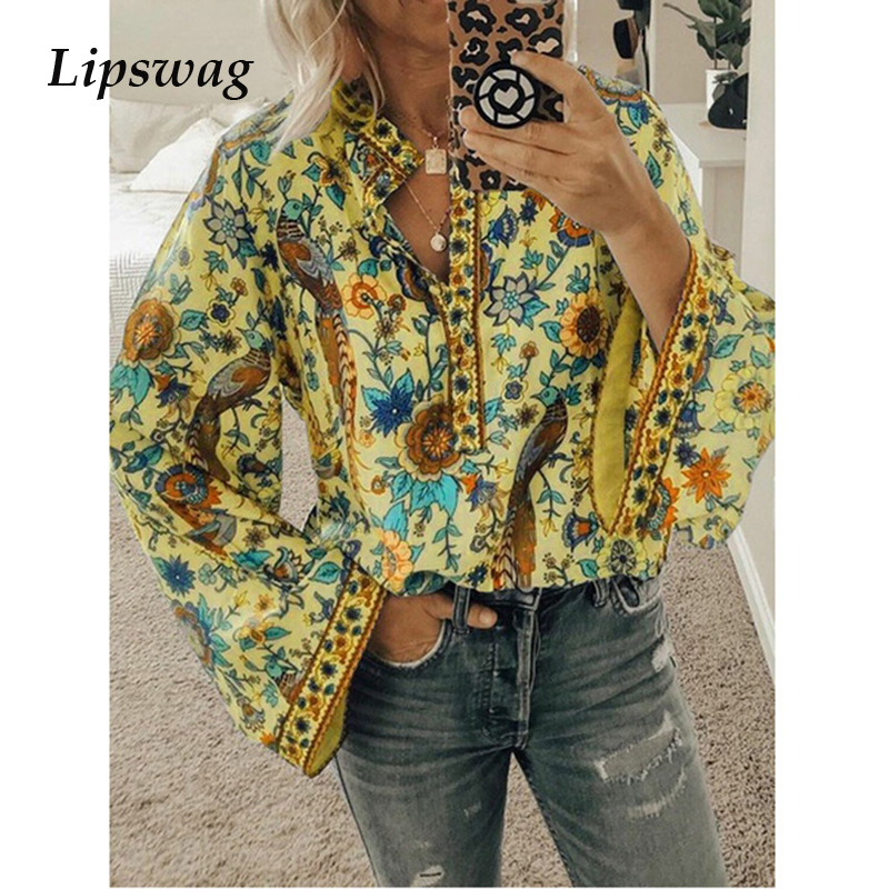 Lipswag 2019 Boho   Blouse   Peacock Floral Print Long Sleeve   Shirt   Casual V-neck Women Tops 2XL Summer Autumn Chic   Blouses   Female
