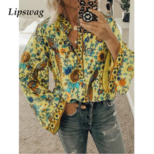 Lipswag 2019 Boho Blouse Peacock Floral Print Long Sleeve Shirt