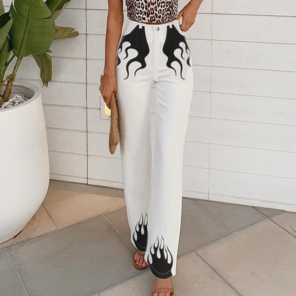 Fashion women trousers high waisted white   Wide     Leg   Pocket Flame Printed Zipper Button Flared Trousers   Pants   spodnie damskie
