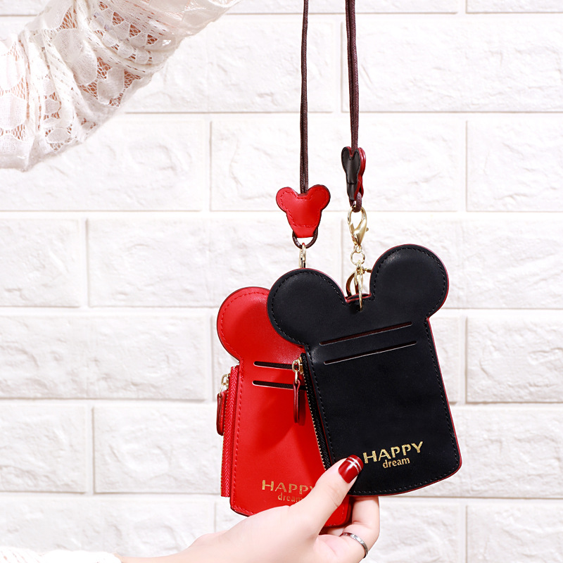 Cute Cartoon Minnie Keychain Keyring Couple Work Card Holder Passport Mini Mickey Leather Case PU Wallet Card Set Charm Gift image