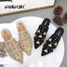 Ladies Mules Shoes Luxury Slippers Women Bee Shoes Pointed Toe Slides Rivets Design Mules Female Heel Slippers Brand stylish women s slippers with pointed toe and solid colour design