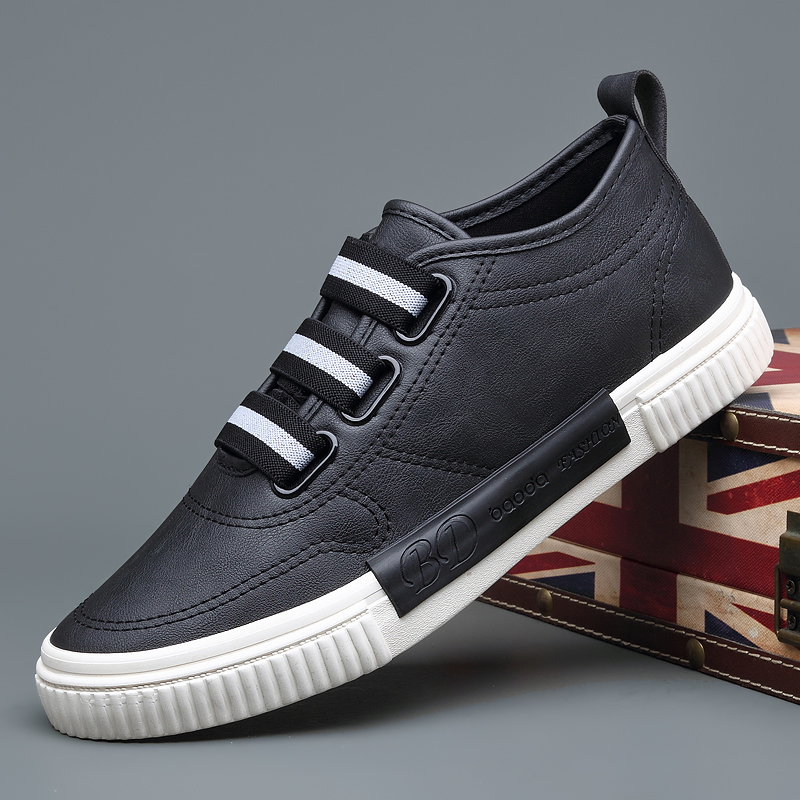 2019 New Men's Vulcanize Sneaker Shoes Elastic Black Slip On Sewing Flat Shoes British Fashion Men Loafers Leisure Shoes M9206