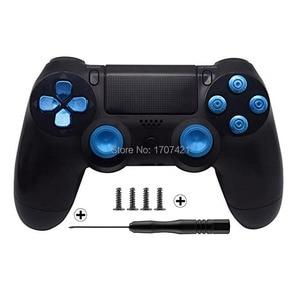 Image 2 - Gold Benutzerdefinierte Metall Thumbsticks Analog Controller Kugel Tasten Chrome D pad Für Sony PS4 Controller