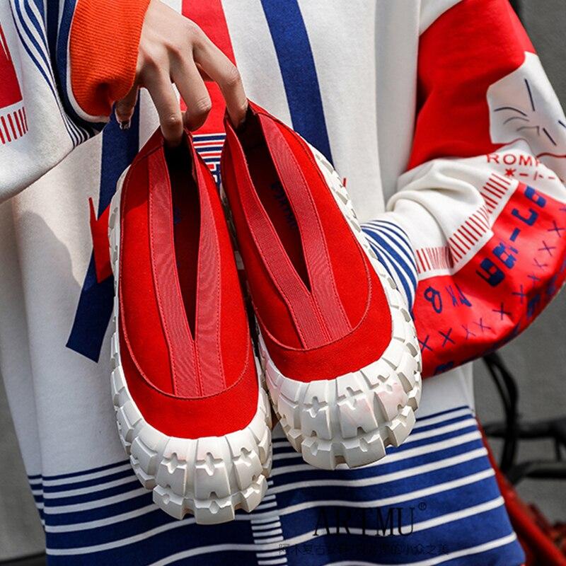 Artmu Original plate-forme chaussures femmes INS Street Snap mocassins chaussures décontracté dames plate-forme chaussures en cuir véritable mode