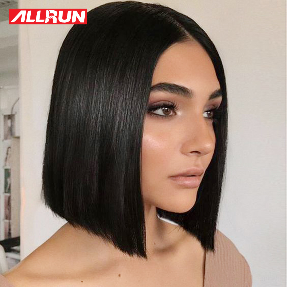 Allrun 13x5 Short Bob Wig 12 Inch 150% Straight Brazilian Non Remy Lace Front Human Hair Wigs Middle Ratio Natural Color