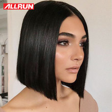 Allrun 13x5 Short Bob Wig 12 inch 150% Straight Brazilian Non Remy Lace Front Human Hair Wigs Middle Ratio Natural Color(China)