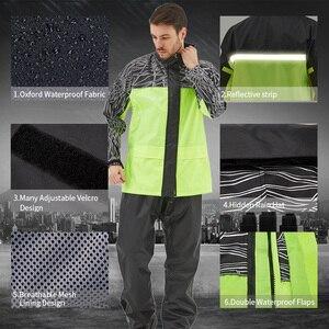 Image 5 - Qian capa de chuva terno impermeável das mulheres/homens com capuz motocicleta poncho capa de chuva motocicleta rainwear S 4XL caminhadas pesca chuva engrenagem