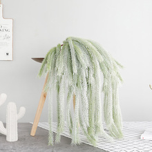 80cm Green Cedar Vine Wall Hanging Artificial Grass Decoration Faux Plant Leaves Fake Garland Rattan for Home Christmas Tassel plant leaves in the vase printed tassel wall hanging painting