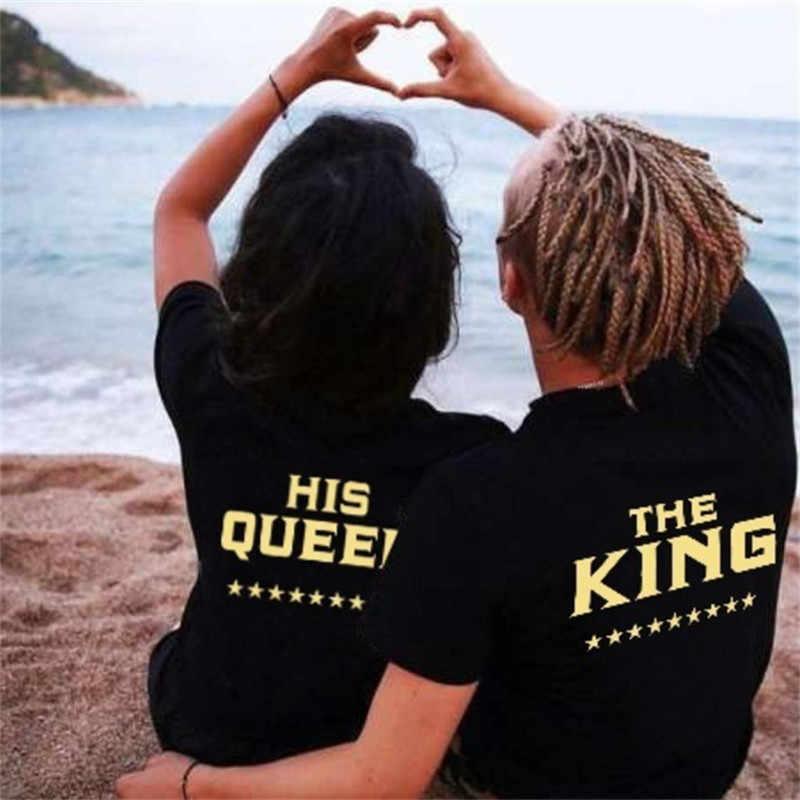 LUSLOS 2019 את מלך מלכת אוהבי טי T חולצה הדפסת בגדי זוג אוהבי טי חולצה Femme קיץ מזדמן O-צוואר שחור חולצות