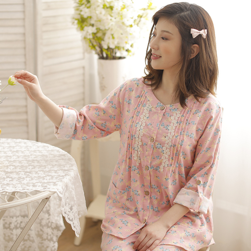 Japanese-style Pure Cotton Pajamas Women's Autumn And Winter Long Sleeve New Style Brushed Cotton Fleece Women's Autumn And Wint