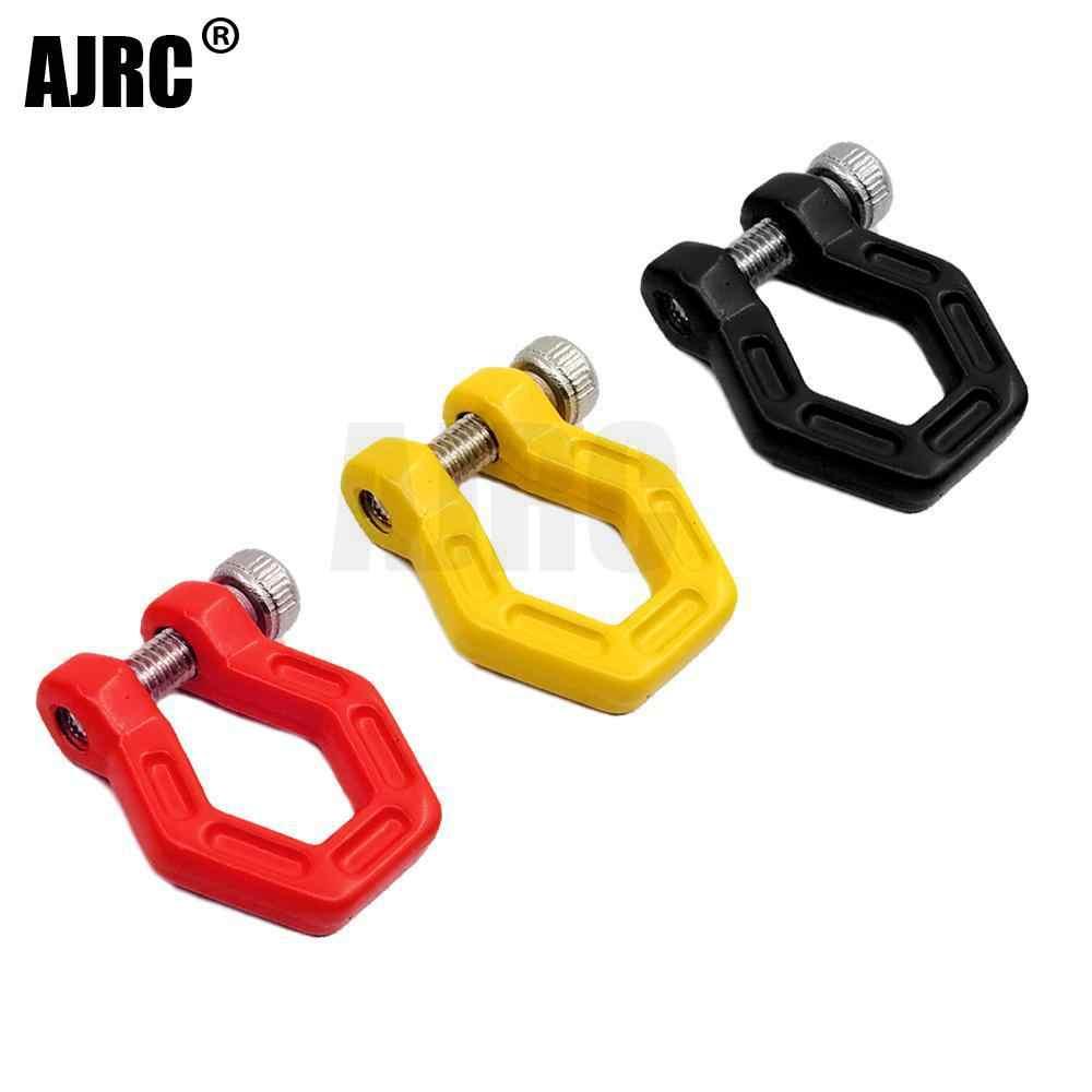 2PcsสีแดงกันชนโลหะD-Ring Hookสำหรับ 1/10 RC CrawlerรถTraxxas TRX-4 Defender G500 TRX-6 g63 Axial SCX10 II 90046 D90