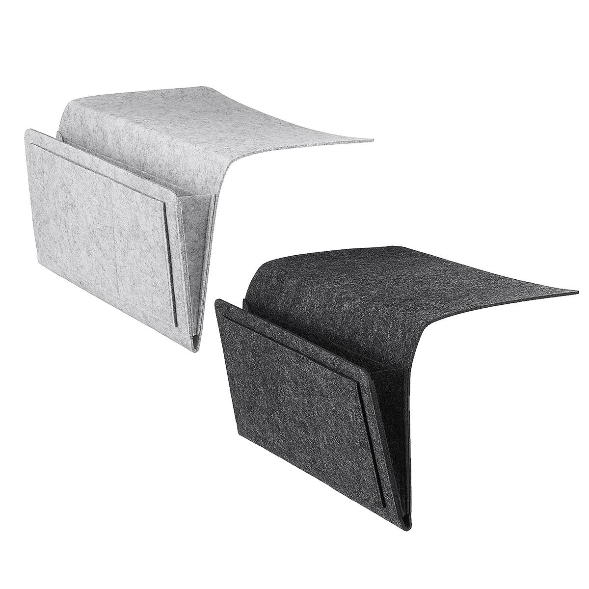 Bed Storage Bag <font><b>Sofa</b></font> Chair Arm Rest <font><b>Pocket</b></font> Organiser <font><b>Remote</b></font> Control Tablet PC Magazine Storage Felt anti dirty waterproof Fold image