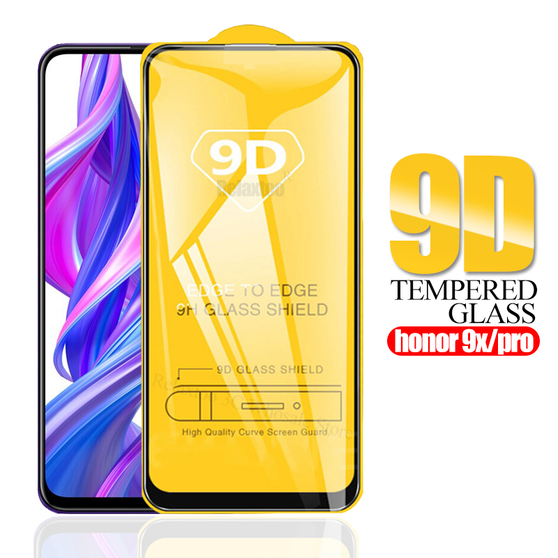 9D Full Glue Honor 9x Pro Protective Glass For Huawei Honor 9x Tempered Glass On Honer 9x 9 X X9 Screen Protector Safety Film 9H